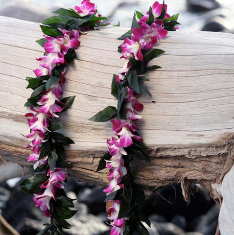 maile style ti leaf lei w/ orchid wrap
