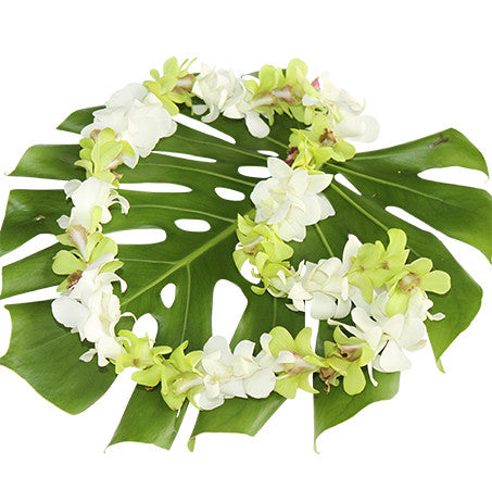single white & green lei