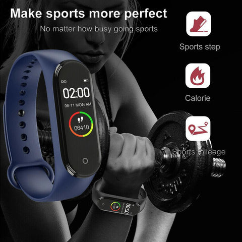 M4 Smart Watch Touch Screen Waterproof Blood Pressure Heart Rate Monitor - Sanlsky
