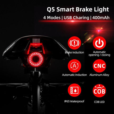 Bicycle Smart Auto Brake Sensing Light IPx6 Waterproof LED Charging Cycling Taillight Bike Rear Light Accessories - Sanlsky