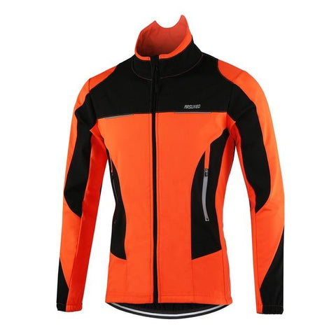Men's Cycling Jacket Winter Thermal Fleece Long Sleeve - Sanlsky