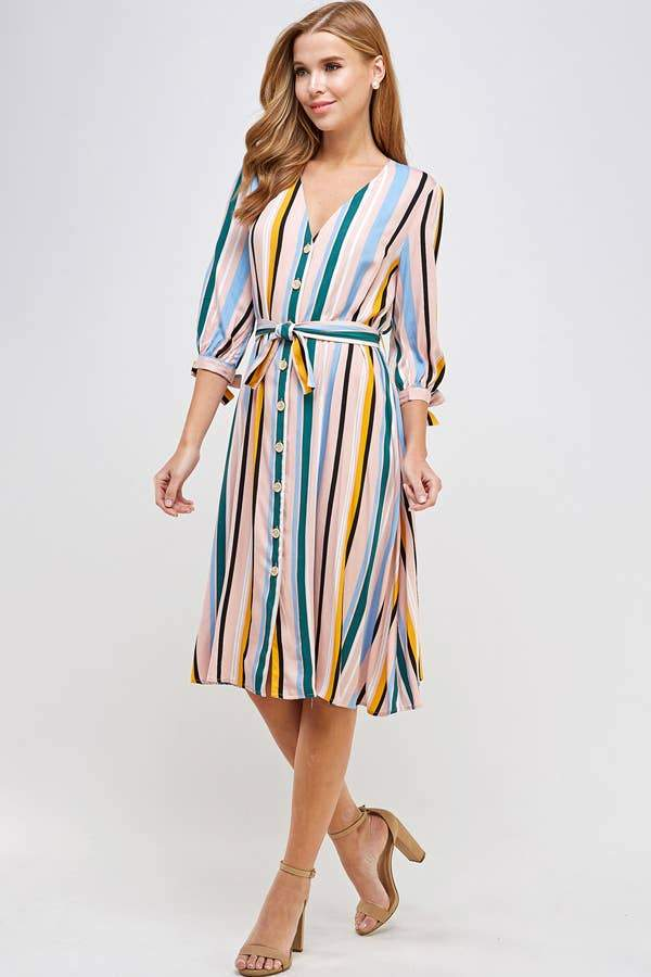 Stripe Button Front V Neck Dress