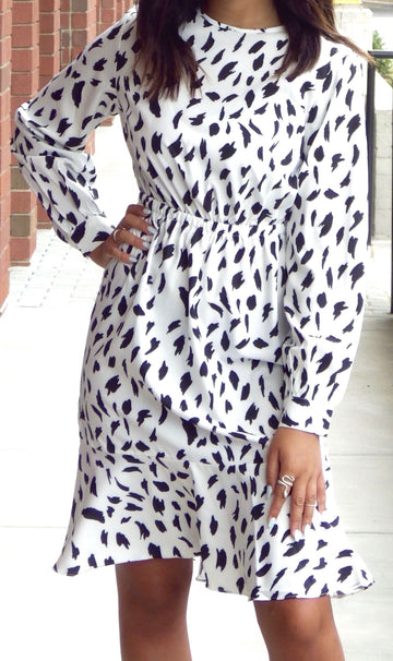 CHIFFON LONG SLEEVE A-LINE DRESS