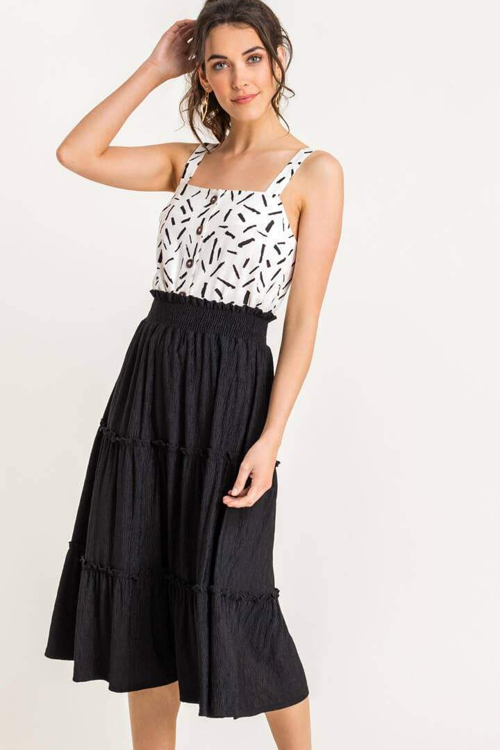 Frill Tiered High Waisted Midi Skirt
