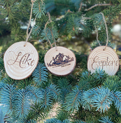 Wood Burned Hiking Ornaments Set of Three