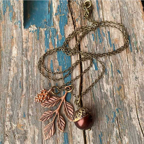Acorn & Leaf Necklace