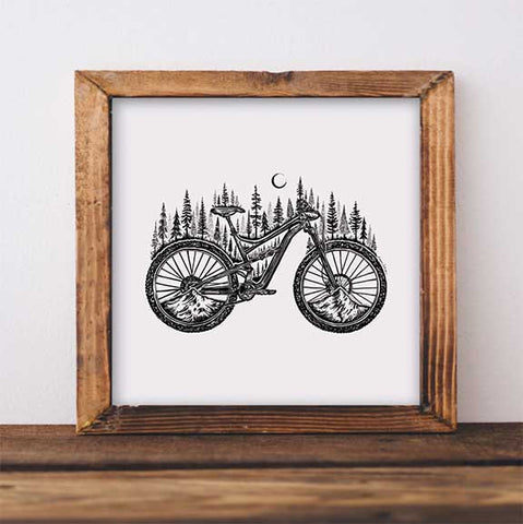 Forested Bicycle Art Print