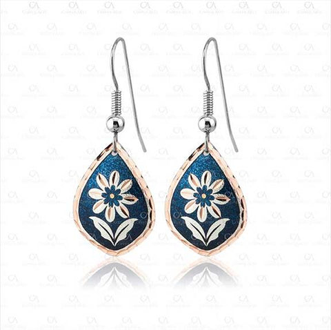 Blue Teardrop Flower Design Earrings