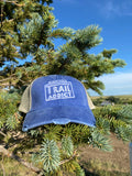 Black Hills Trail Addict Distressed Trucker Hat Blue