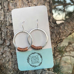 Hoop Earrings with Copper Wire Wrap