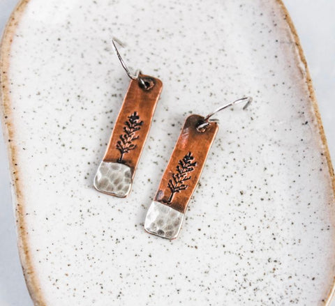 Copper and Silver Tree Earrings