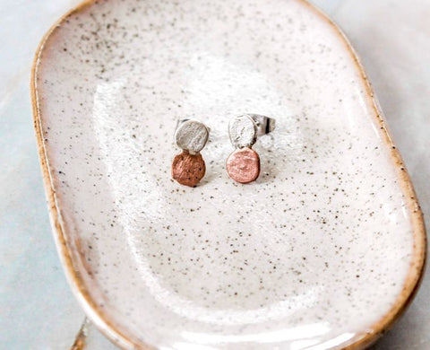 Silver and Copper Double Nugget Studs