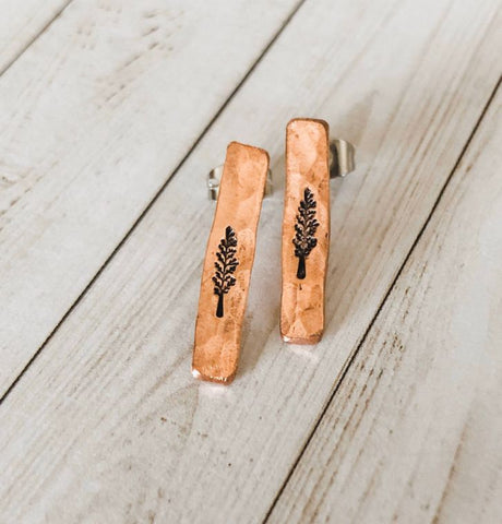 Copper Bar Tree Earrings
