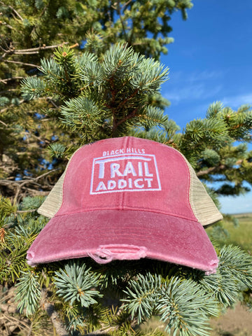 Black Hills Trail Addict Distressed Trucker Hat Pink