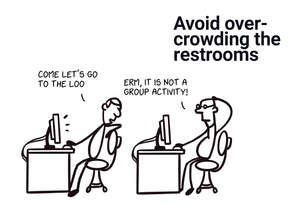 Avoid overcrowding the restrooms - Stick Family, Post-it-BAD COVID Signage
