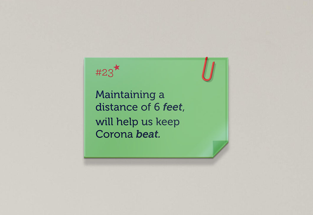 Maintaining a distance of 6 feet, willl help us keep Corona beat - Rhyme Family, Post-it-BAD COVID Signage