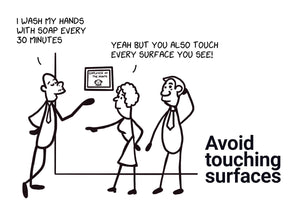 Avoid touching surfaces - Stick Family, Envelope-BAD COVID Signage