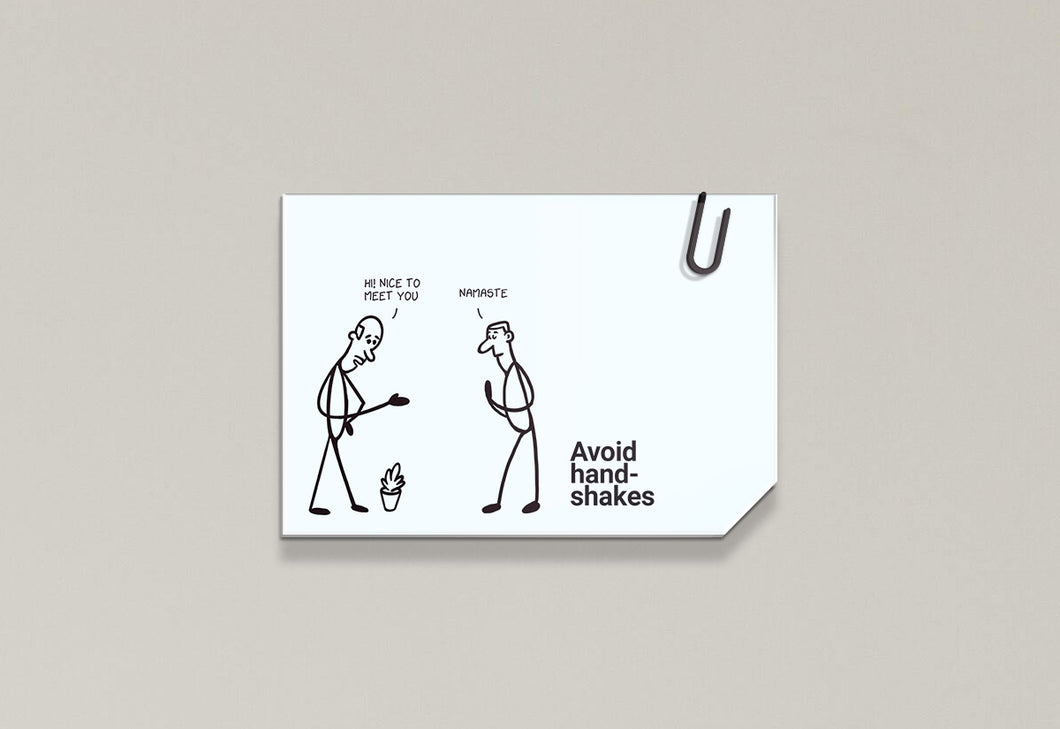 Avoid handshakes - Stick Family, Post-it-BAD COVID Signage