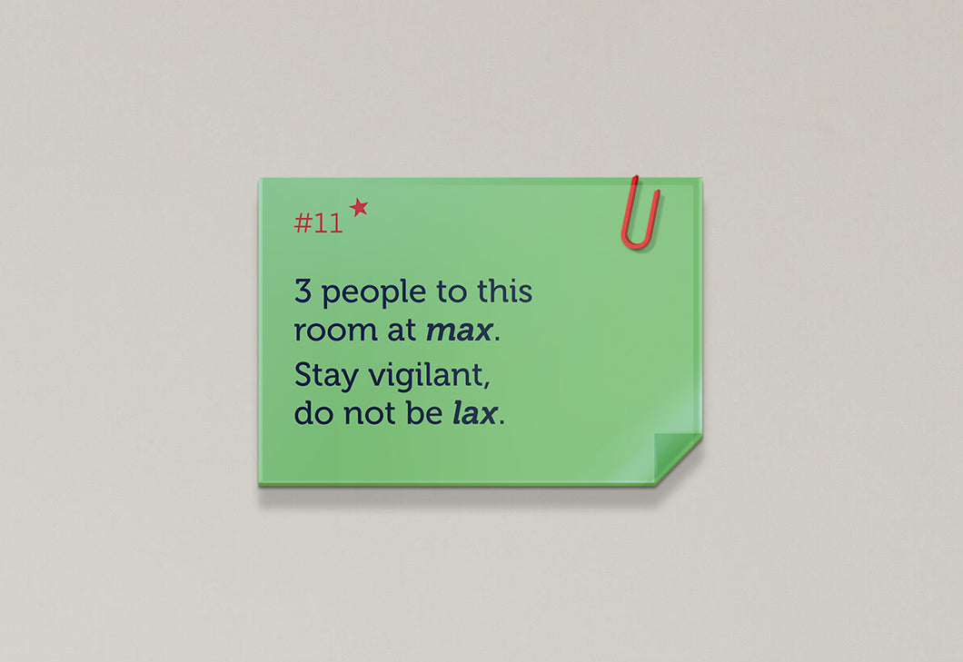 3 people to this room at max - Rhyme Family, Post-it-BAD COVID Signage