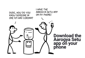 Download the Aarogya Setu app on your phone - Stick Family, Envelope-BAD COVID Signage