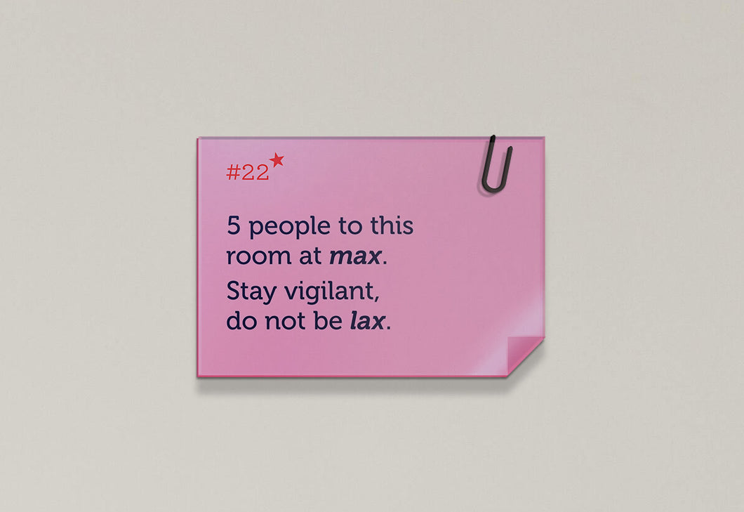 5 people to this room at max - Rhyme Family, Post-it-BAD COVID Signage