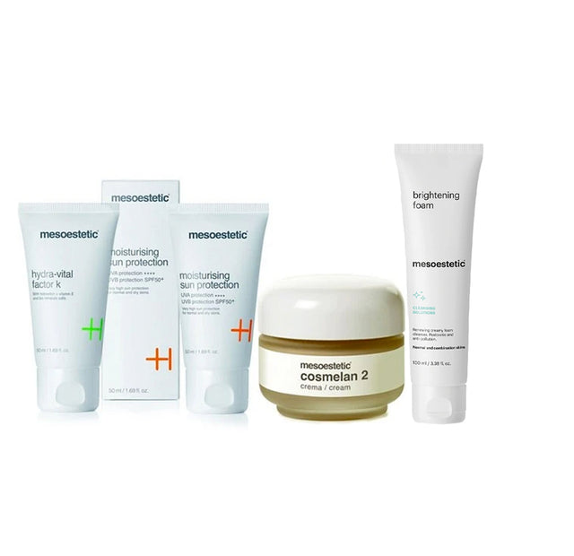 Mesoestetic Cosmelan 2 + Hydra Vital Factor K + Moisturising Sun Protection + Brightening Foam Bundle