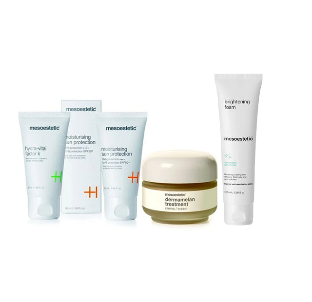 Mesoestetic Dermamelan + Hydra Vital Factor K + Moisturising Sun Protection + Ultimate W+ Brightening Foam Bundle