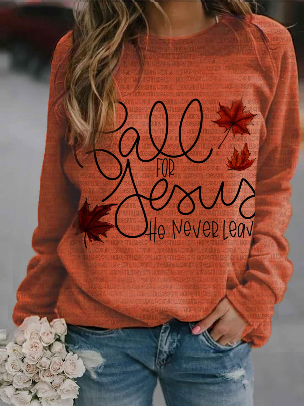 Fall For Jesus He Never Leave Sudadera casual con estampado de hojas de arce