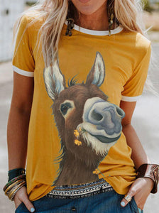 Camiseta estampada animal informal para mujer