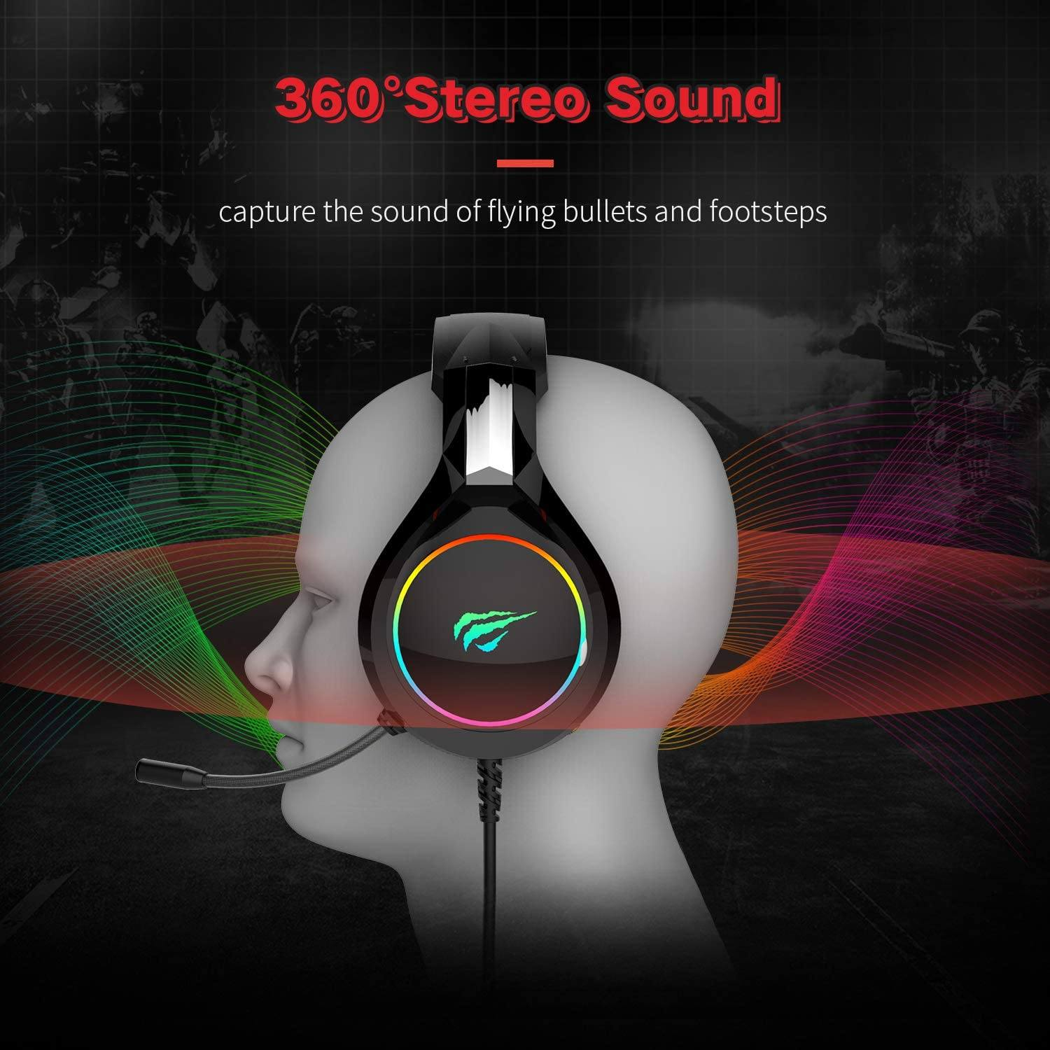 havit RGB Wired Gaming Headset PC USB 3.5mm XBOX / PS4 Headsets with 50MM Driver, Surround Sound & HD Microphone, XBOX One Gaming Overear Headphones for Computer Laptop, Black Gaming havit