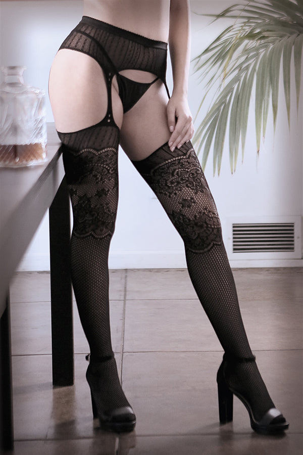 Hands On Me Galloon Net Garter Stockings