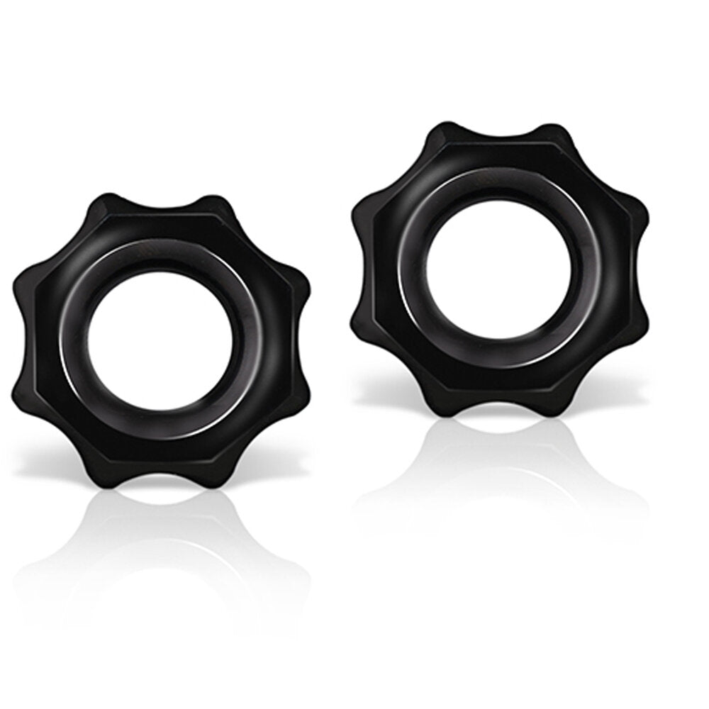 Stay Hard Nutz Cock Ring 2pk Black