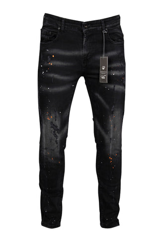 PATCHWORK PAINT SPLATTER JEANS - BLACK