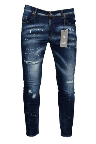 Tapered Fit JEANS with PAINT SPLATTER