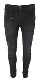 DK Black Ripped Paint Splatter Slim Fit Jeans