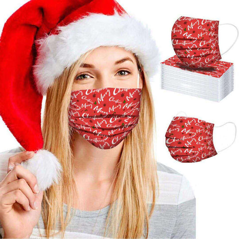 CHRISTMAS DISPOSABLE FACE MASKS(5 Color one box)