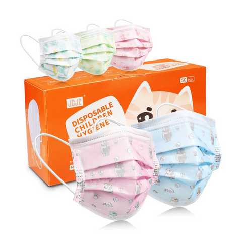 3-ply Kids Disposable Face Mask, Youth Size (with pattern)