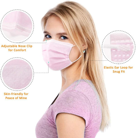 DISPOSABLE FACE MASKS(PINK)