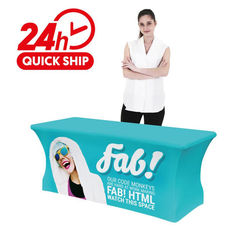 Premium Stretch Table Cover 6ft 4-Sided (Close Back) (Full-Color Dye Sublimation, Full Bleed)