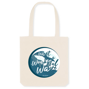 """What a wonderful wave"" Tote Bag in recycled Cotton and Polyester (GOTS label) - Sweet Banana Riders"
