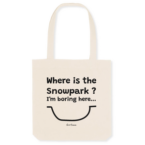 """Where is the Snowpark"" Tote Bag in recycled Cotton and Polyester (GOTS label) - Sweet Banana Riders"