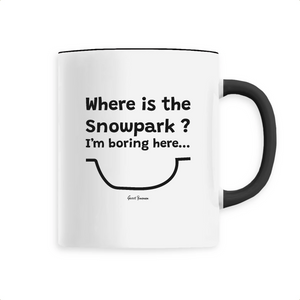 """Where is the Snowpark"" Kids Mug - Sweet Banana Riders"