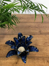 Load image into Gallery viewer, Lotus flower tea light holder - Midnight blue