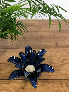 Lotus flower tea light holder - Midnight blue
