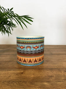 Patterned Plant pot - Light blue