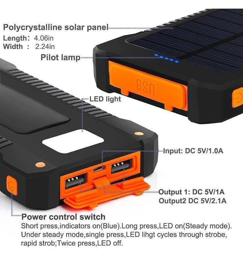 Waterproof 30000mAh Solar Power Bank