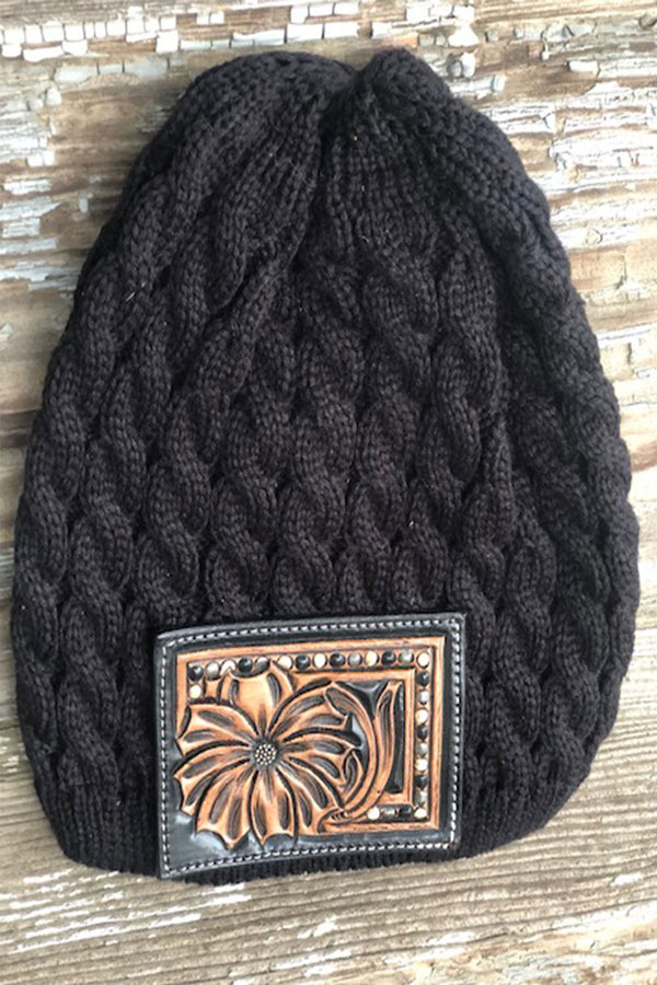 Black Tooled Beanie