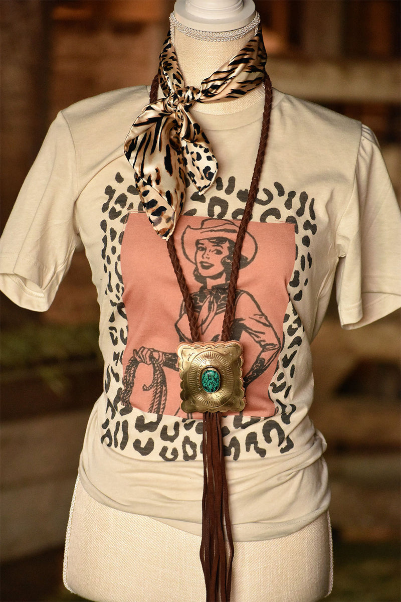 The Lucky Cowgirl Leopard Tee