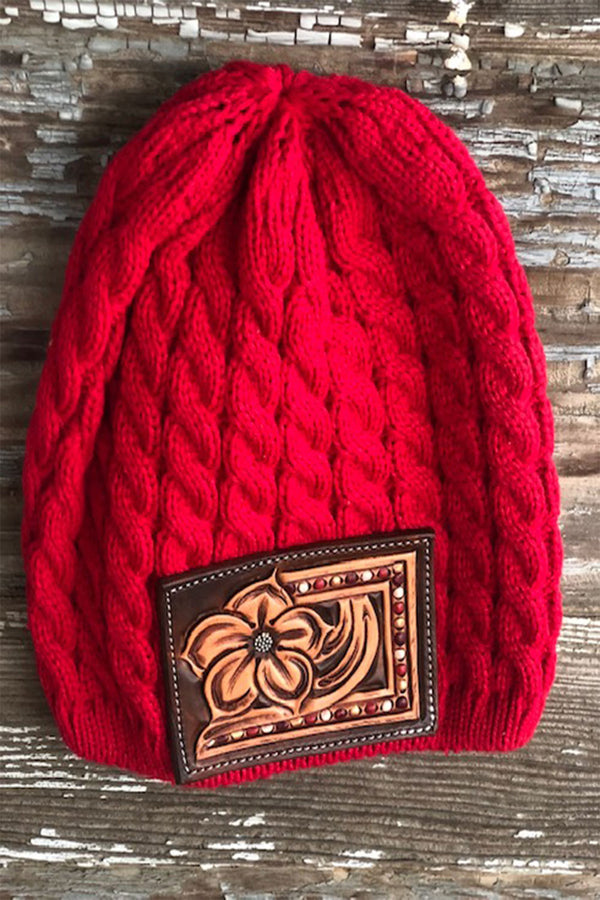 Red Tooled Beanie
