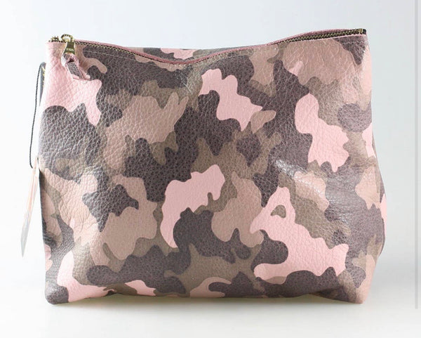 Leather Camo Makeup Bag